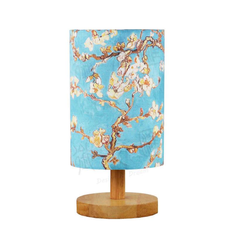 Скандинавский тканевый ламповый абажур простая современная деревянная основа для настольной лампы прикроватная гостиная светодиодный настольная лампа