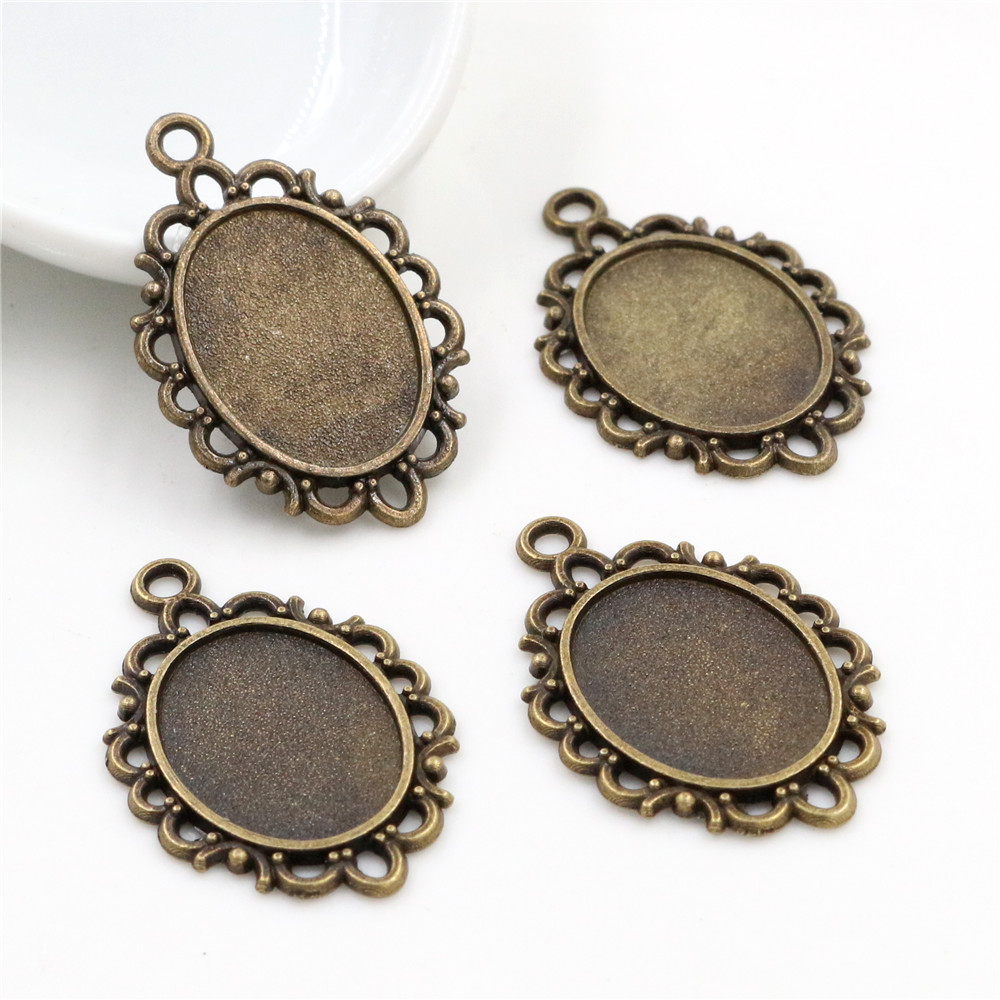10pcs 13x18mm Inner Size Bronze Simple Style Cameo Cabochon Base Setting Charms Pendant Necklace Findings  (D4-01)