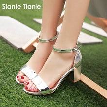 Sianie Tianie 특허 PU 오픈 발가락 여자 여름 신발 실버 골드 핑크 버클 스트랩 블록 하이힐 여성 샌들 플러스 사이즈 44 45
