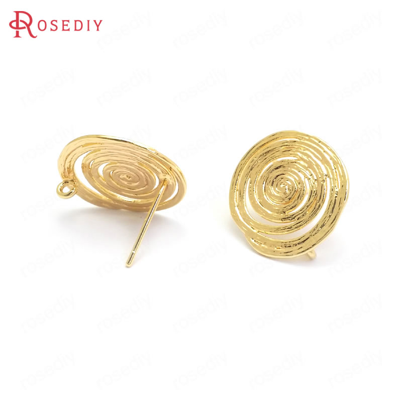 (37357)6PCS 17x15MM 24K Gold Color Brass Roll Pattern Stud Earrings Pins High Quality Jewelry Making Supplies Diy Accessories