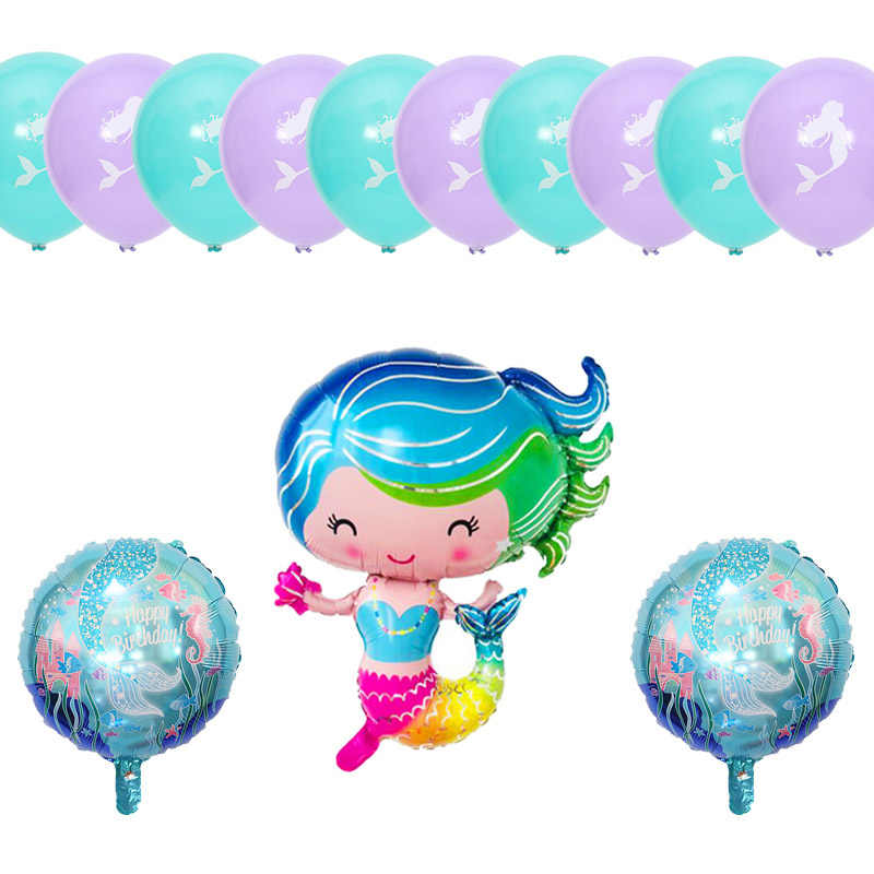 13pcs/set Color Mermaid foil balloon set girl birthday party decoration Undersea animal theme party wedding supplies