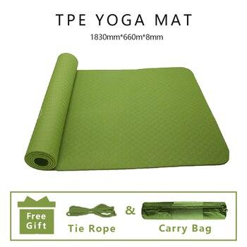 1830*660*8mm TPE Yoga Mat Anti-Slip Odorless Yoga Pants Eco-Friendly Material Fitness Exercise Pilates Sports For Beginner