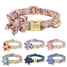 Custom Engraved Dog ID Collar Personalized Nylon Pet Flower Collars With Cute Flower Colorful Print For Small Medium Large Dogs