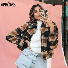 Aproms Vintage Brown Plaid Trucker Jacket Women Winter Warm Teddy Basic
