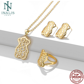 INALIS Classic Art Hollow Heart To Heart Bear Shape Pendant Jewelry Sets For Women And Men Unisex Necklaces Earrings Ring Sets classic heart pendant