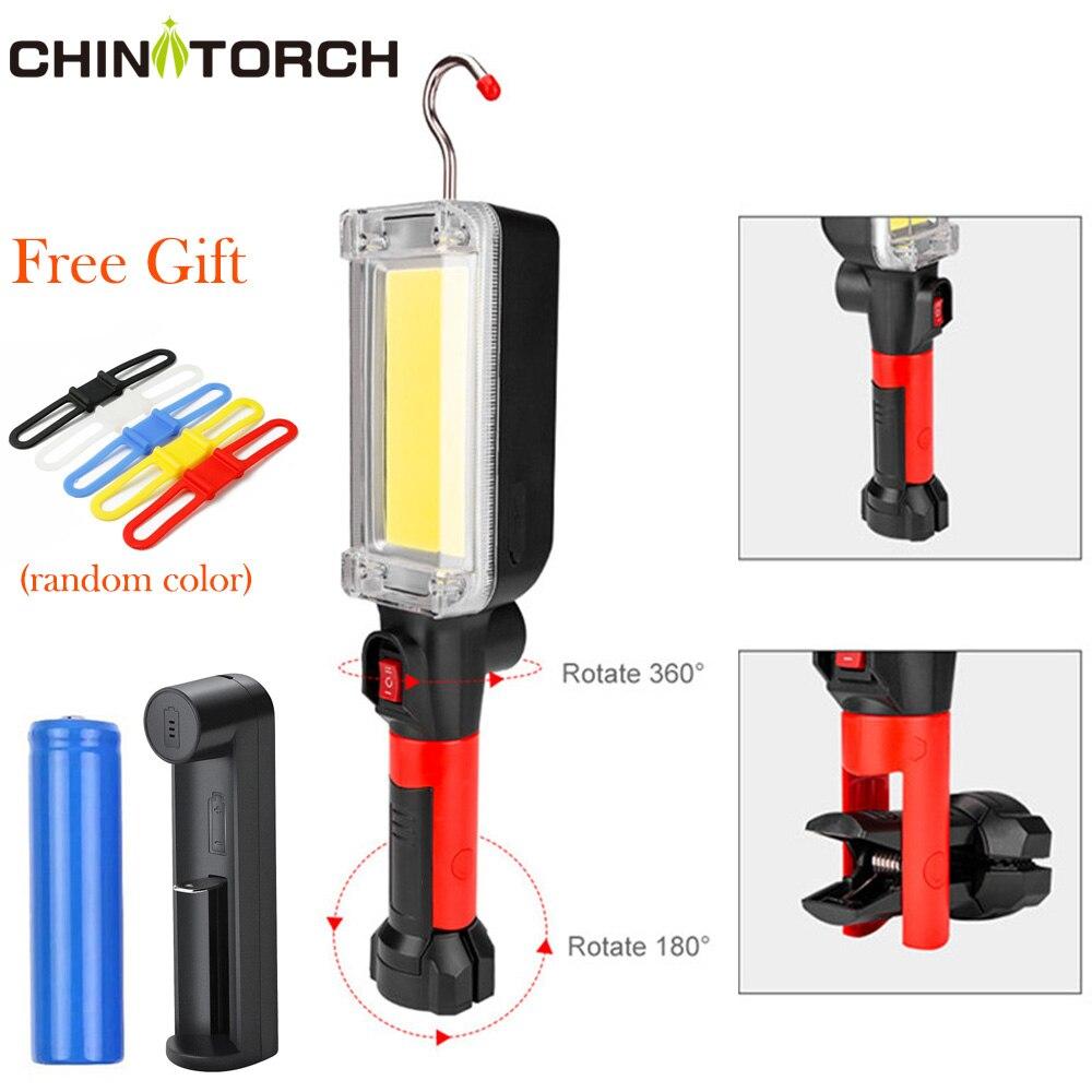 LED Work Lamp COB USB Rechargeable 7000 Lumen Handle Flashlight Hook Loop Magnet Portable Working Lantern Outdoor Glare Light|Portable Spotlights| |  -