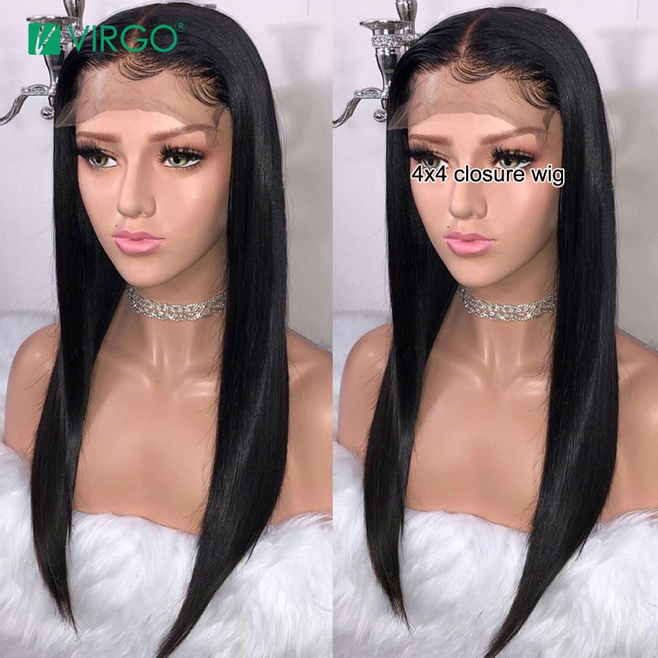 Virgo 4x4 Lace Closure Wig Straight Human Hair Wigs For Black Women Pre Plucked With Baby Hair Glueless Remy Lace Wig 8-26 Inch