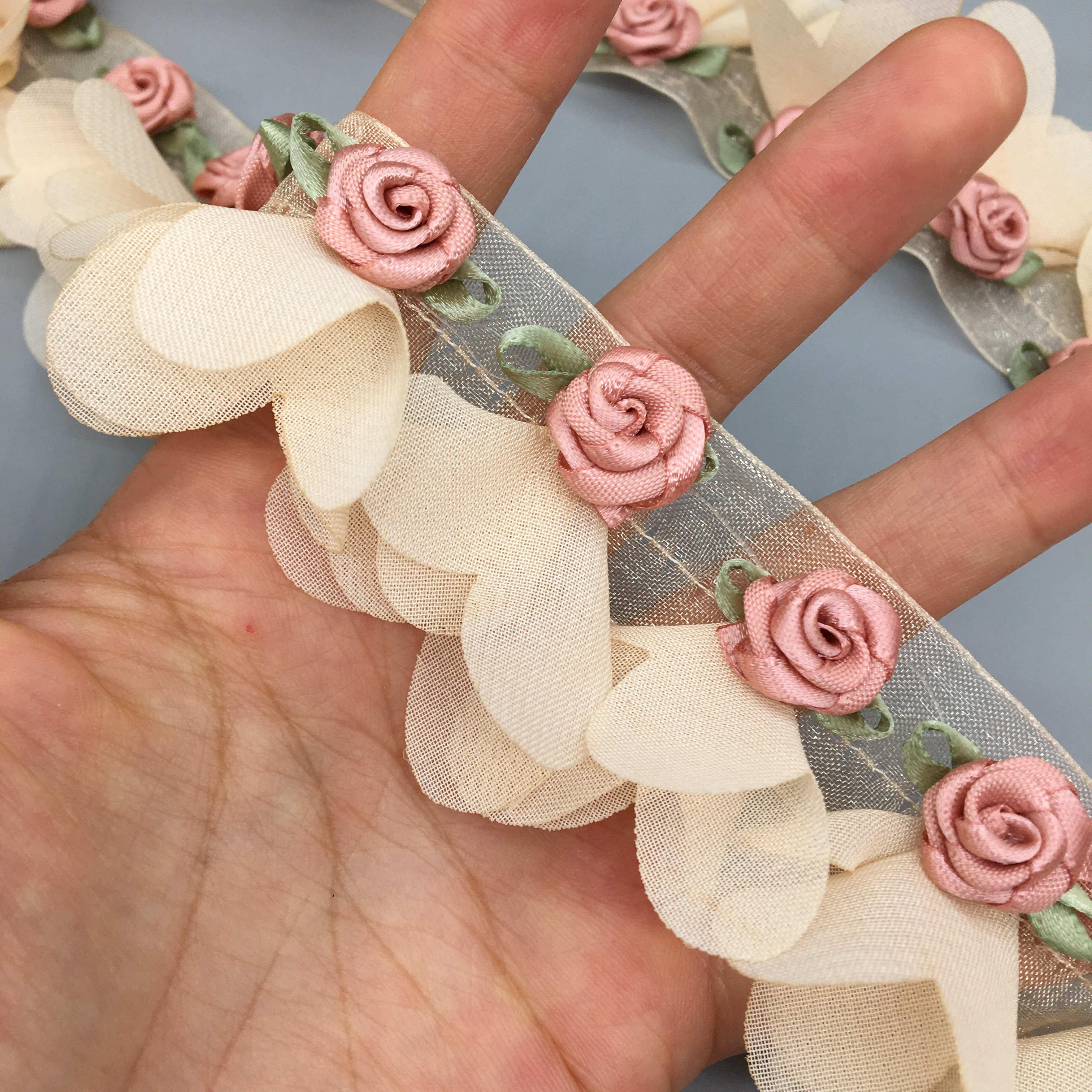 30 шт. жемчужные розы цветок кластер абрикос ручная вышивка кружевная отделка фотоаксессуары для свадьбы