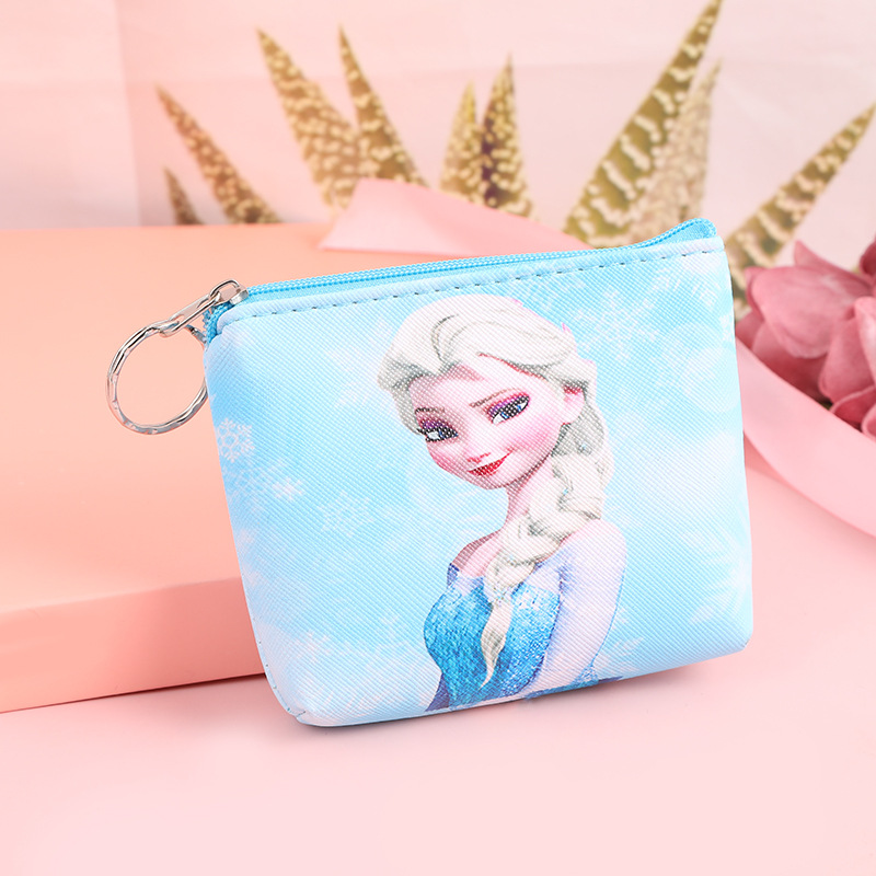 2019 New Disney Cute Cartoon Frozen Elsa  Anna Princess Coin Bag Children's Hand Snack Bag PU Bag Storage Purse Coin