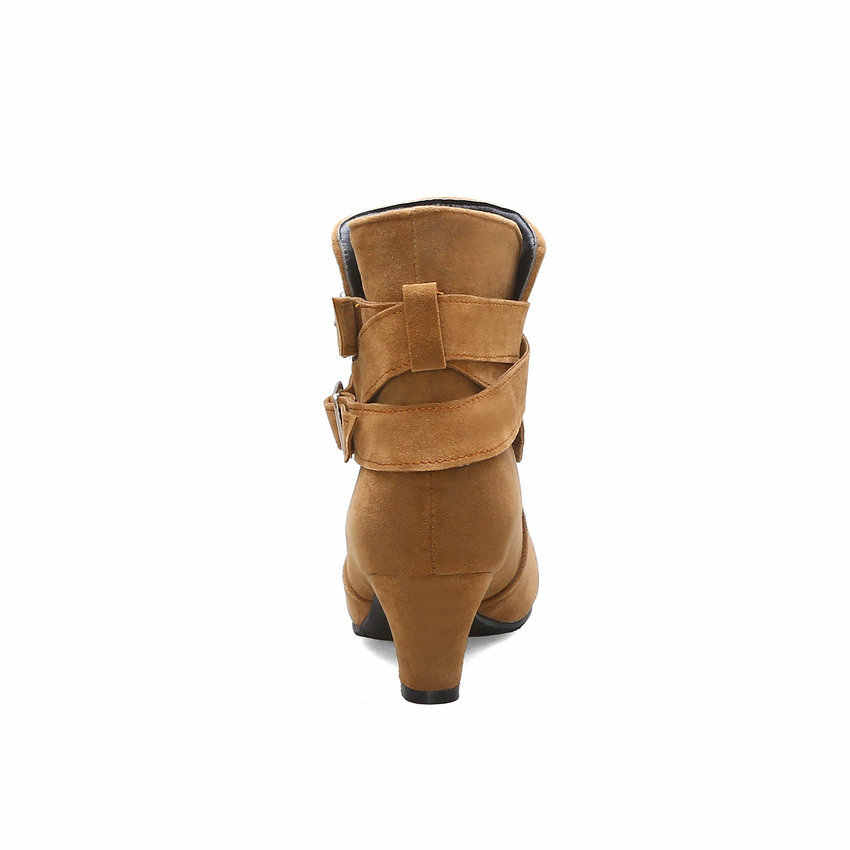 ESVEVA 2020 akın dikiş kare yüksek topuk toka kadın ayakkabı rahat yuvarlak ayak sonbahar kış moda yarım çizmeler büyük boy 34 -43