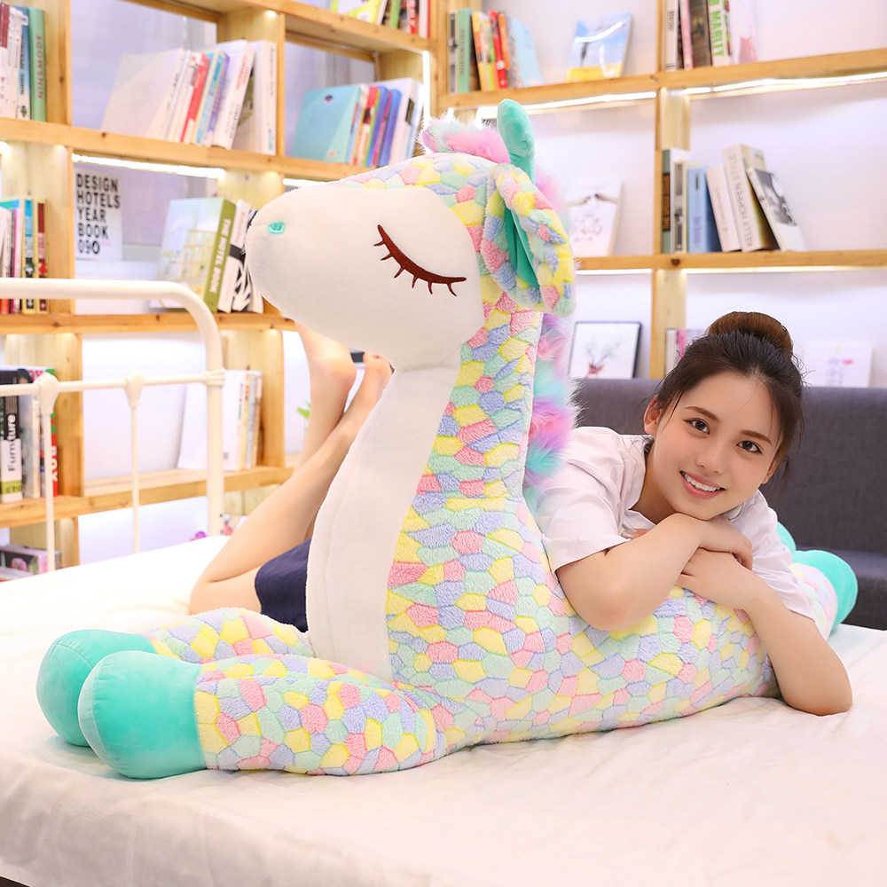 KUY Nice Huggable Cute Colorful Deer Plush Toys Cartoon Animal Giraffe Dolls Stuffed Soft Dolls For Children Baby Birthday Gifts
