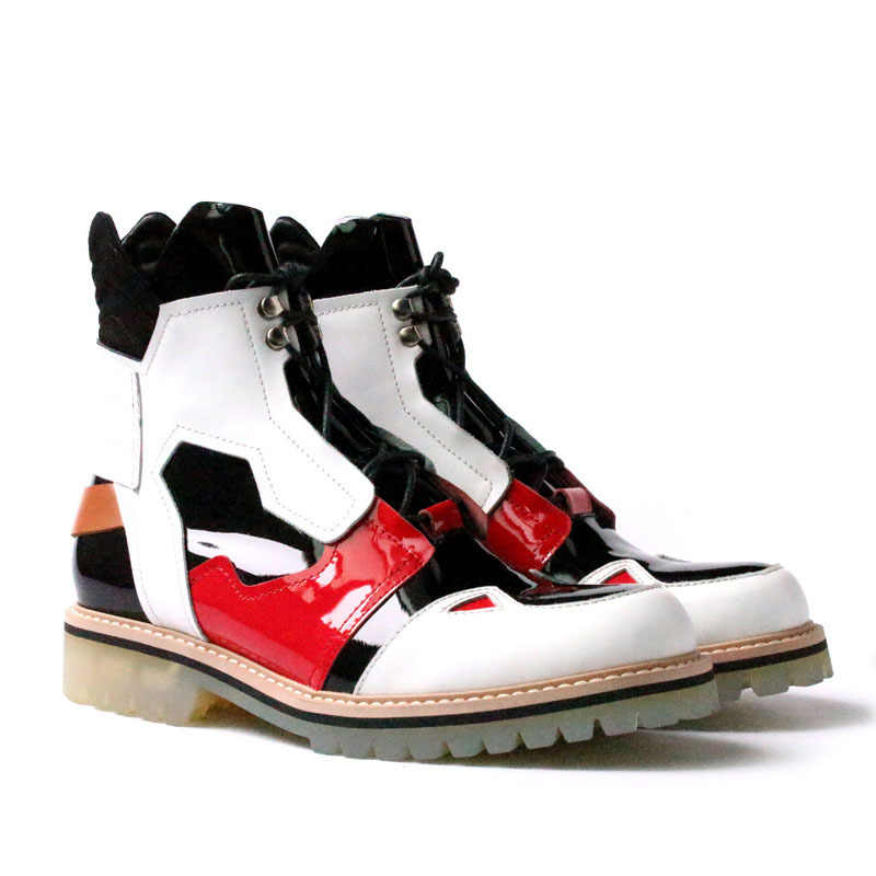 Runway Beiläufige Lace Up High Top Stiefel Männer Street Fashion Runde Kappe Plattform Stiefeletten Winter Schwarz Leder Cowboy Stiefel männlichen