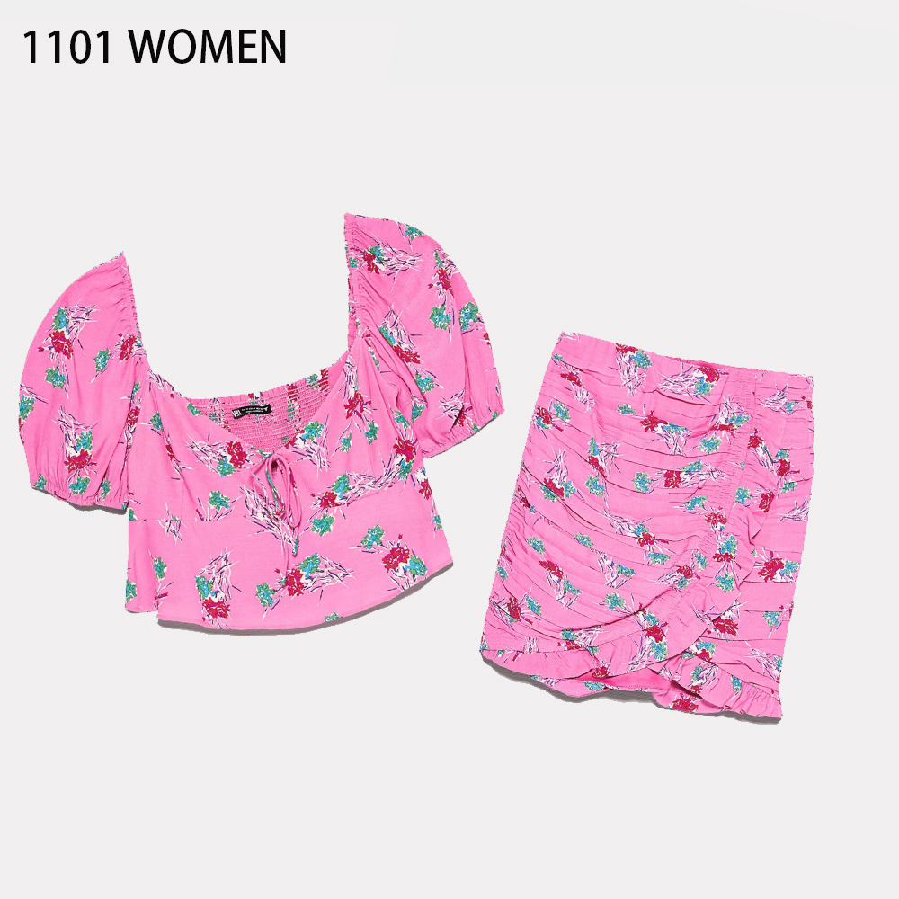 2020 NEW Summer Spring Women 2 pieces Set pink floral printed short <font><b>Sleeve</b></font> shirt draped mini <font><b>dress</b></font> Suit female <font><b>sexy</b></font> clothes image