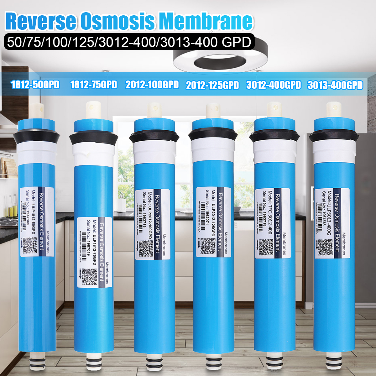 Home 100 GPD RO Membrane Reverse Osmosis Replacement Water System Filter Purification Water Filtration Reduce Bacteria Kitchen
