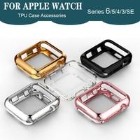 TPU parachoques para carcasa de reloj Apple 44mm 40mm iWatch 42mm 38mm accesorios funda protectora de pantalla para Apple Watch serie 6 5 4 3 2 SE