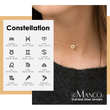 eManco Twelve Constellations Pendant Necklace women 316L Stainless Steel Choker