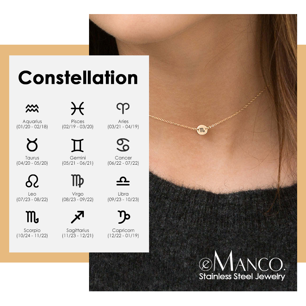 EManco Twelve Constellations Pendant Necklace Women 316L Stainless Steel Choker Necklace Gifts For Women Jewelry