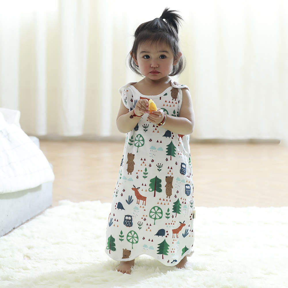 Summer Air-conditioned Infant Gauze Sleeping Bag Baby Four-layer Pajamas Children Strap-type Anti-kick Unisex Pullover Dropshipi
