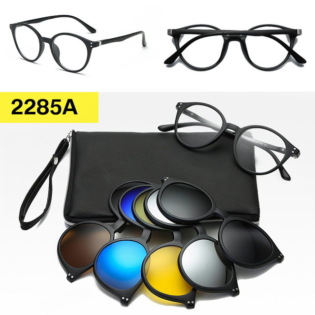 <font><b>5</b></font> lenes Magnet <font><b>Sunglasses</b></font> <font><b>Clip</b></font> Mirrored <font><b>Clip</b></font> <font><b>on</b></font> <font><b>Sunglasses</b></font> <font><b>Men</b></font> Women <font><b>Magnetic</b></font> Eyewear Eyeglass Frames Optical Glasses Frame image