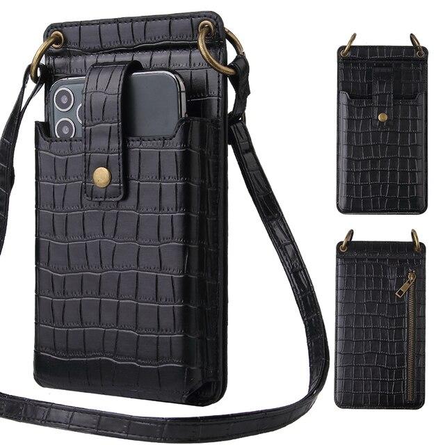 Signalshin Điện Thoại Di Động Mini Túi Đeo Vai Cho Iphone Xiaomi Điện Thoại Với Ví Đeo Chéo Dây Đeo Thời Trang Cá Sấu Bao Da Hoa Văn
