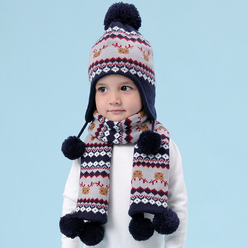 Boy Hat Scarf Set Winter Kid Earflap Fleece Beanie Acrylic Autumn Warm Pompon Deer Skiing Outdoor Baby Accessory