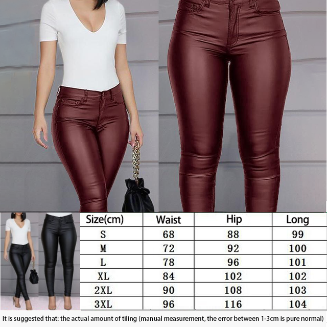 Spring Women Pu Leather Pants Black Sexy Stretch Bodycon Trousers High Waist Long Casual Pencil S-3XL Winter 3