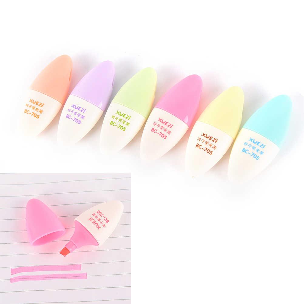 دائم 6 قطعة/الوحدة حلوى لون قلم تمييز صغير ماركر أقلام الكتابة اللوازم المدرسية kawaii القرطاسية