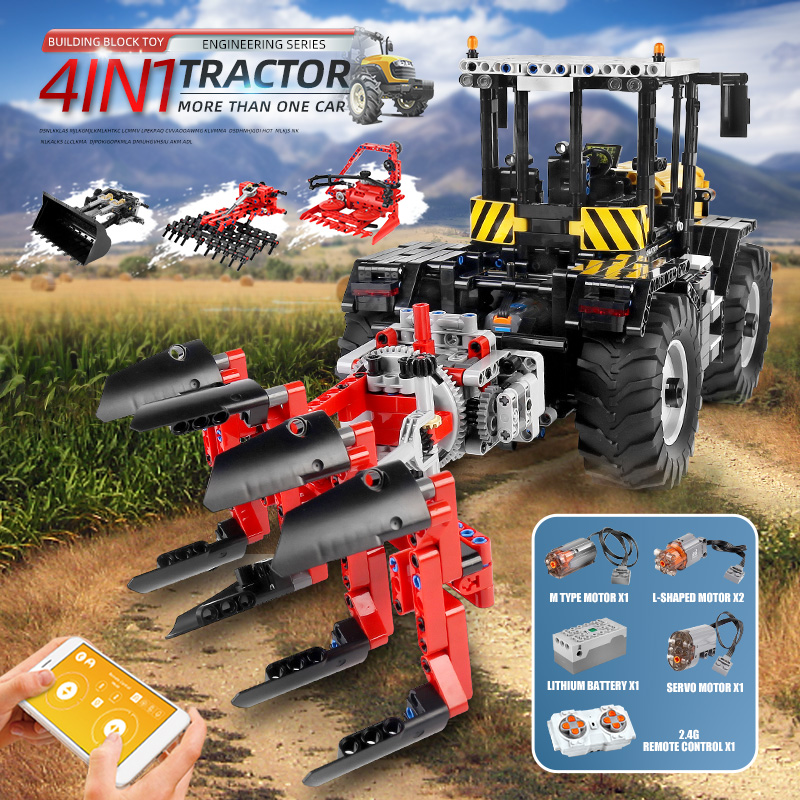 MOULD KING 17019 APP High-Tech Car The MOC-25371 RC Motorized Tractor Fastrac 4000er Set Building Block