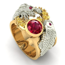 Gorgeous Double Dragon Play Ball Rings Animal Jewelry  Gold Two Tone Red Beaded Zircon Rhinestone Ring Z4Z046