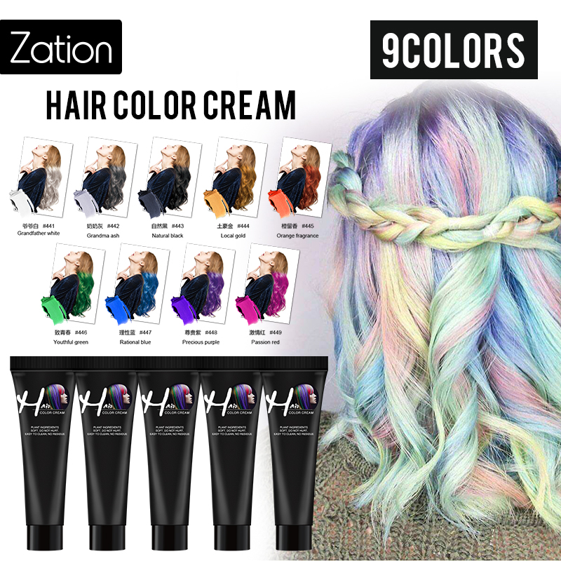 Zation 1 Pcs Hair Tint Colorant Grandma Ash Semi Permanent Long Lasing Grandfather White Hair Cream Color Dye Paint image