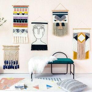 Гобелен ручной работы с кисточками макраме, богемный настенный подвесной гобелен, Настенный декор в стиле бохо, украшение для спальни