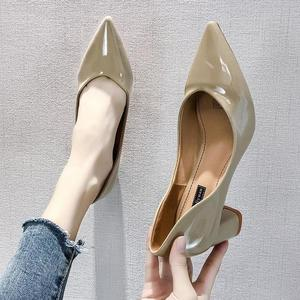 Image 5 - European style girl high heels female 2019 spring new women pumps wild pointed shallow mouth thick with single shoes work shoes