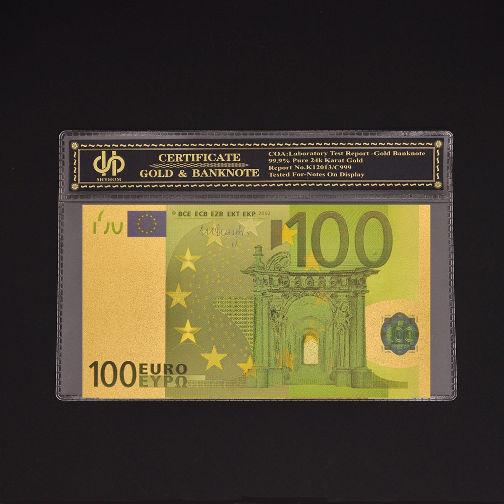 European 100 <font><b>Euro</b></font> <font><b>Banknote</b></font> Colored Plated Gold Copy Currency Bill Money Collection image