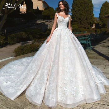 Adoly Mey Gorgeous Appliques Chapel Train Lace A-Line Wedding Dress 2020 Luxury Scoop Neck Beaded Cap Sleeve Vintage Bridal Gown