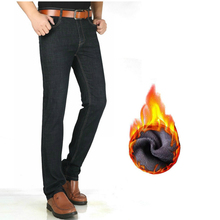 Mens Jeans Pants Tall Winter Stretch Velvet Long-Version Straight Warm Plus Casual 120cm
