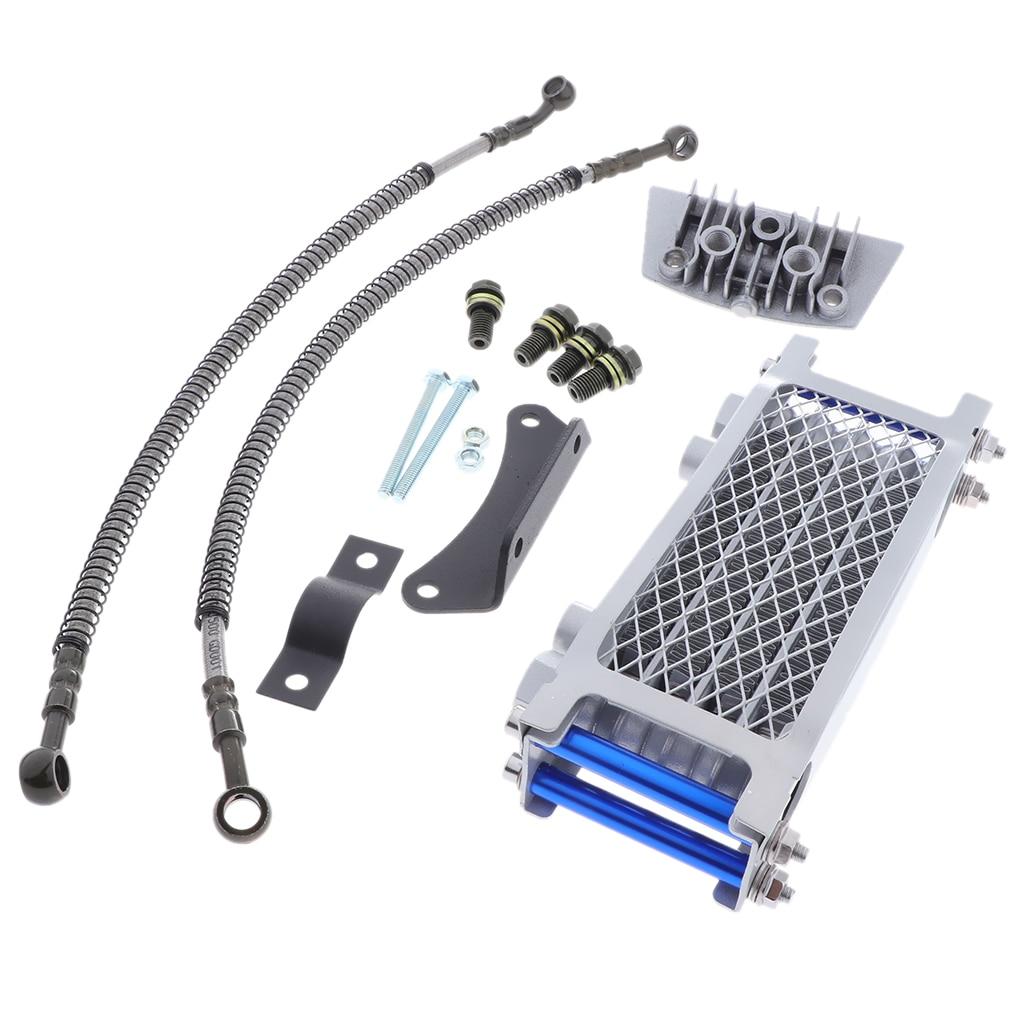 Sliver Engine Oil Cooler Kit Cooler Cooling Radiator for 125 140cc Motorcycle Pit Bike