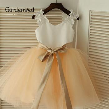 Gardenwed 2019 White Satin Ruched Elastic Shoulder Straps Champagne Tulle Skirt With Belt Girl Party Evening Dress wedding girl