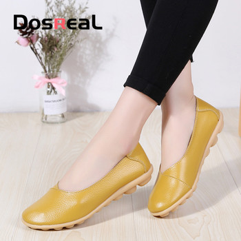 Dosreal Women Big Size 44 Loafers Genuine Leather Black Flats womans Outdoor Walking Shoes Female Spring Shallow Casual - discount item  44% OFF Women's Shoes