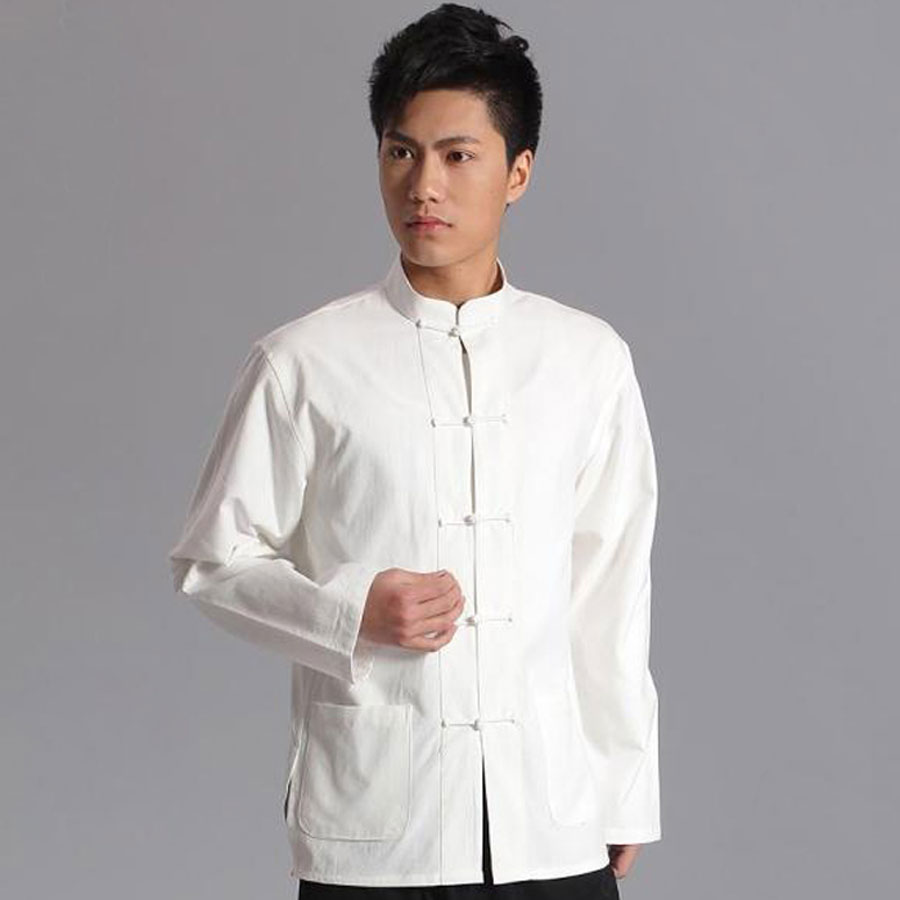 Umorden традиционная хлопковая Китайская одежда с длинным рукавом, костюм Тан, топ, мужская униформа кунг-фу Тай-Чи, рубашка, блузка, пальто для ...