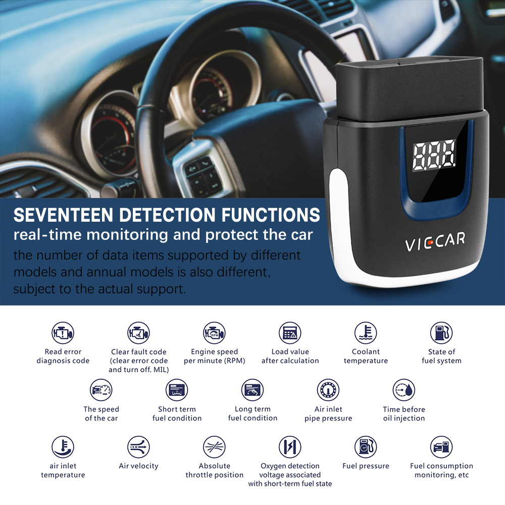 Viecar ELM327 V2.2 OBD2 Bluetooth/Wifi scanner PK <font><b>Elm</b></font> <font><b>327</b></font> <font><b>V1.5</b></font> PIC18F25K80 Auto Diagnostic Tool OBDII for Android/IOS/Windows image
