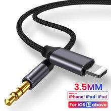 Para o iphone 3.5mm jack aux cabo adaptador de fone de ouvido alto-falante do carro para o iphone 11 pro xs xr x 12 cabo divisor de áudio para ios 14 acima