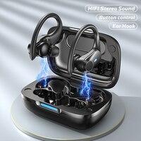 Auriculares inalámbricos con Bluetooth 5,1, cascos deportivos resistentes al agua con sonido HIFI, botón de gancho para la oreja de baja latencia con micrófono