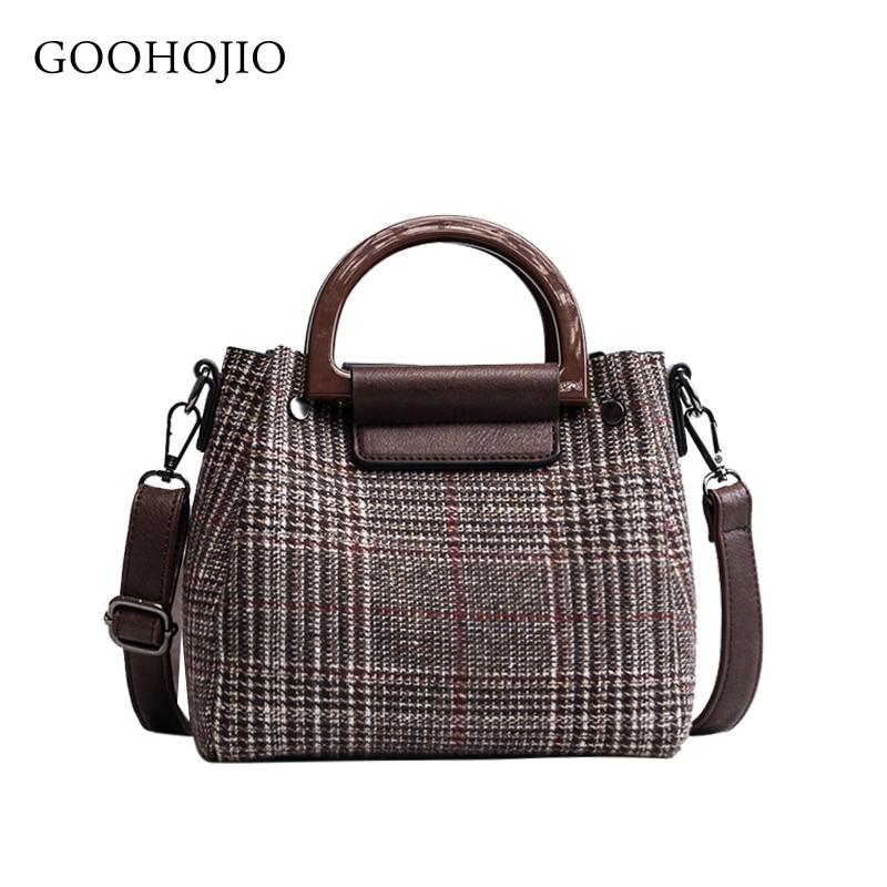 2 Bags Women's Designer Handbag 2019 Fashion New Handbags High Quality Wool Stripes Women Tote Bags Girl Shoulder Messenger Bags