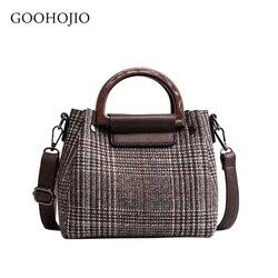 2 sacos Bolsa 2019 Novas Bolsas Da Moda do Desenhador das Mulheres de Alta qualidade de Lã Listras Das Mulheres Tote sacos de Ombro Menina Messenger sacos