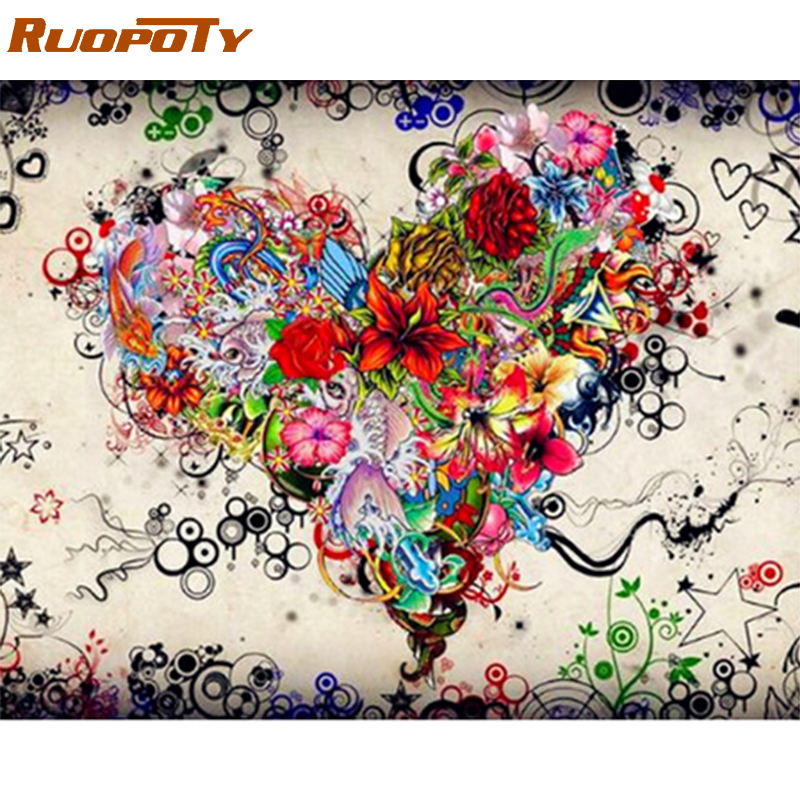 RUOPOTY Frame Diy Painting By Numbers Kit Heart Landscape Handpainted Oil Painting Wall Art Picture Diy Gift For Home Decoration
