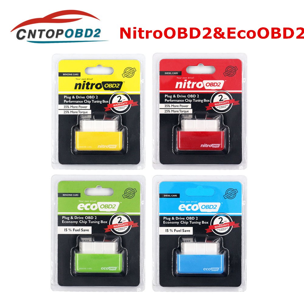 Nitro OBD2 ECOOBD2 15% Fuel Save More Power ECU Chip Tuning Box NitroOBD2 Eco OBD2 For Diesel Benzine Gasoline Car Plug&Driver