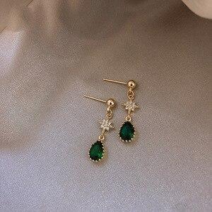 Pendientes de cristal verde para mujer pendientes de gota dulce Vintage de calidad de moda estilo coreano anillos de oreja para mujer joyería para mujer