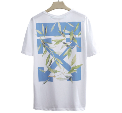 Unisex OFF#WHITE Religious Print Letter Round Neck Hot Leaf Arrow T-Shirt New