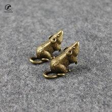 Ornaments Pet-Holder Tea Small Zodiac Brass Copper Mice Peach Statue Animal-Mouse Rat