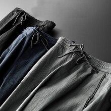 Мужские повседневные рабочие брюки, весенние летние модные брендовые деловые простые хлопковые дышащие удобные Стрейчевые узкие джинсы, брюки